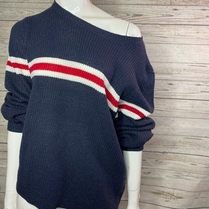 Pink Rose Cozy Blue Red White Sweater Size L
